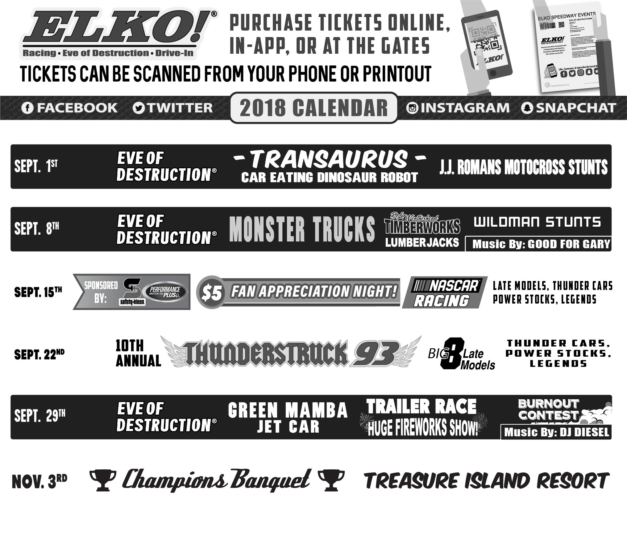 2018 Elko Speedway Calendar Elko Speedway